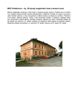 MPZ Poběžovice – čp. 36 bývalý magistrátní úřad a okresní soud