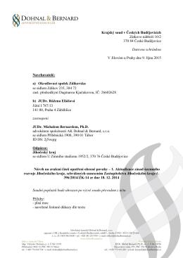 Krajský soud v Českých Budějovicích Zátkovo nábřeží 10/2 370 84