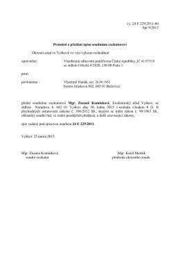 č.j. 24 E 229/2011-60 Spr 9/2013 Protokol o předání spisu soudnímu
