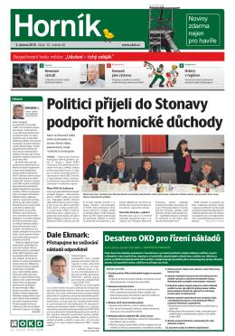 Politici přijeli do Stonavy podpořit hornické důchody