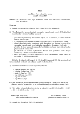 Zápis ze schůze výboru 27. dubna 2015