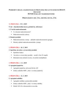 Úvod – charakteristika kurzu, požadavky, informace 1. Úvod do