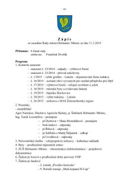Zápis a usnesení Rady města Heřmanův Městec č. 03/2015