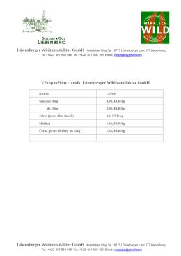 Výkup zvěřiny – ceník Löwenberger Wildmanufaktur GmbH.