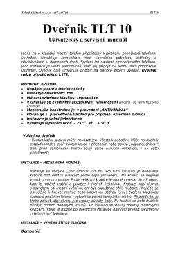 Manuál dveřníku TLT 10 (cz)