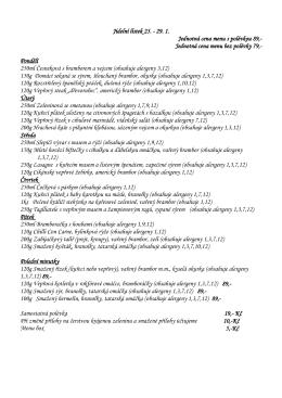 Jednotná cena menu bez polévky 79