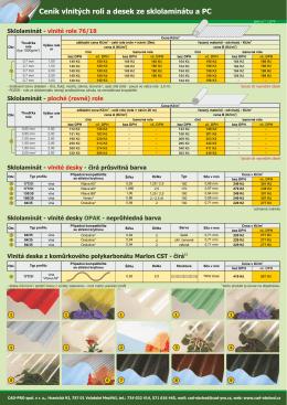 Ceník vlnitých rolí a desek ze sklolaminátu a PC
