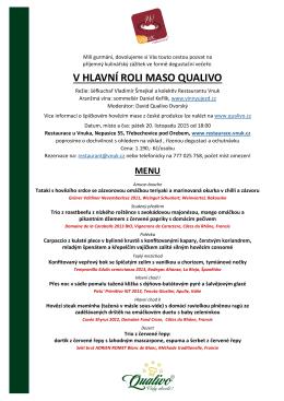 V HLAVNÍ ROLI MASO QUALIVO - Restaurant Vnuk
