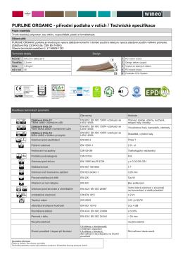 PURLINE ORGANIC - přírodní podlaha v rolích / Technické specifikace