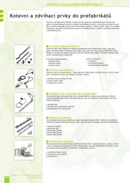21. Kotevní a zdvihací prvky do prefabrikátů