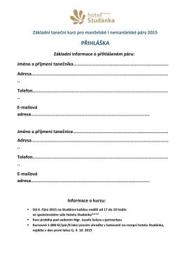 Přihláška na taneční kurzy 2015