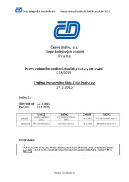 Pokyn 14/2015 VO ZaK DKV Praha-Změna PŘ od