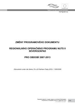 změny programového dokumentu regionálního operačního