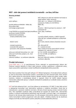 MST - sběr dat pomocí mobilních terminálů – on-line