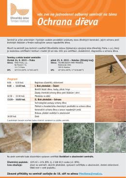 Pozvánka na seminář Ochrana dřeva