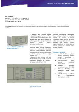 OCHRANA MiCOM ALSTOM p342/3/4/5/6 Ochrana generátorů
