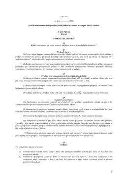 Z á k o n  ze dne ………….. 2014, na ochranu oznamovatelů