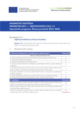 Hodnoticí kritéria pro SC 1.3