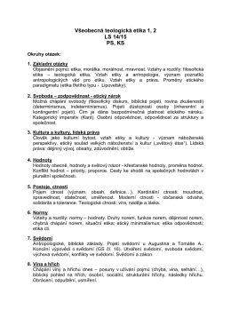 Všeobecná teologická etika 1, 2 LS 14/15 PS, KS
