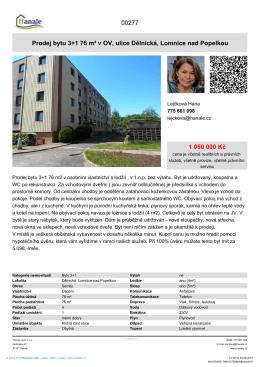 Prodej bytu 3+1 76 m² v OV, ulice Dělnická, Lomnice nad Popelkou