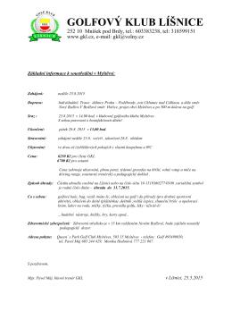 Informace o táboru - Golfový klub Líšnice