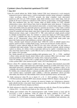 Schůze výboru Psychiatrické společnosti ČLS JEP