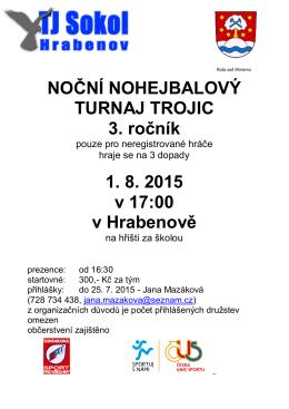 NOČNÍ NOHEJBALOVÝ TURNAJ TROJIC 3. ročník 1. 8. 2015 v 17