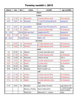 Termíny soutěží r. 2015