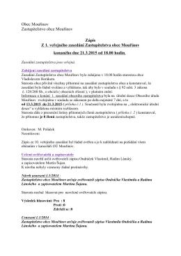 Zápis z veřejného zasedání zastupitelstva 21.3.2015