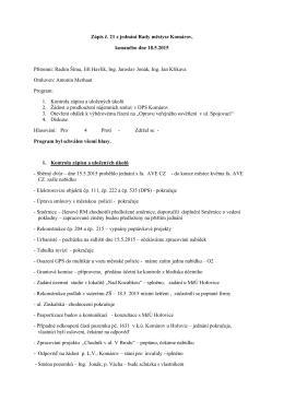 Zápis č. 21 z jednání Rady městyse Komárov, konaného dne 18.5