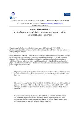 Tyršova základní škola a mateřská škola Praha 5 – Jinonice, U