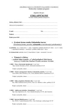 Zápočtový list pro základní kurz