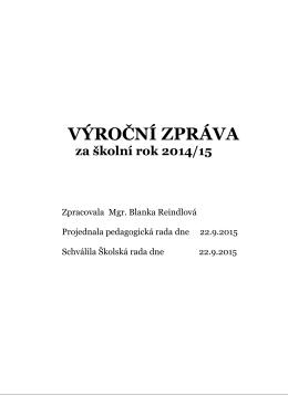 Výroční zpráva 2014 / 2015 - Základní škola s rozšířenou výukou
