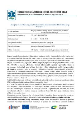Krajský standardizovaný projekt zdravotnické záchranné služby