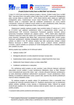 """""""Projekt Zvýšení kvality řízení na MěÚ Štětí"""" byl dokončen V úterý"""