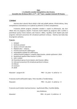 Zápis z 3.veřejného zasedání Zastupitelstva obce Kvasice