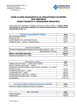 ceník sluţeb nehrazených ze zdravotního pojištění pro veřejnost