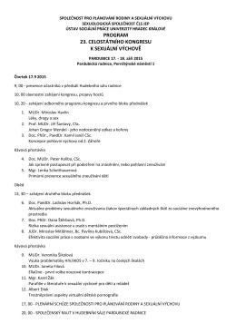 PROGRAM 23. CELOSTÁTNÍHO KONGRESU K SEXUÁLNÍ