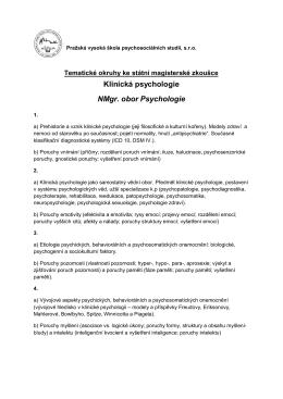 Klinická psychologie - Pražská vysoká škola psychosociálních studií