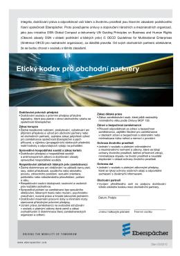 Etický kodex pro obchodní partnery