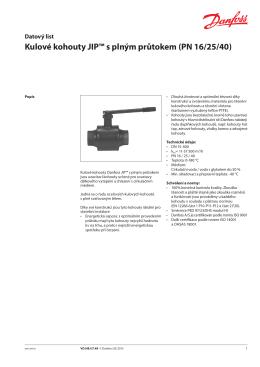 Kulové kohouty JIP™ s plným průtokem (PN 16/25/40)