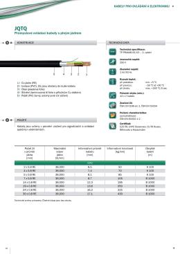 Průmyslové ovládací kabely s plným jádrem