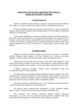 Jednací řád valné hromady společnosti VRL Praha a.s. konané dne