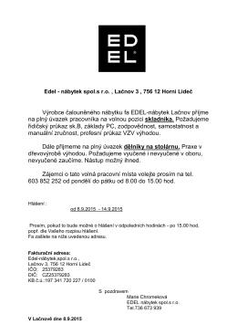 Výrobce čalouněného nábytku fa EDEL