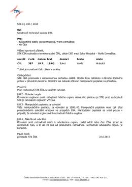 STK č.j. 035 / 2015 Od: Sportovně technické komise ČBA Pro