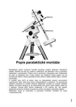 Popis paralaktické montáže