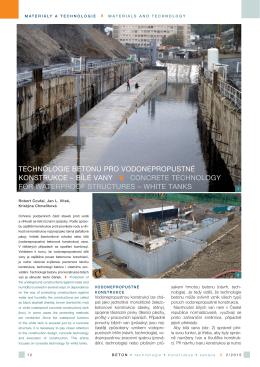 Technologie betonu pro vodonepropustné konstrukce