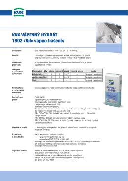 KVK Vápenný hydrát 1902 /Bílé vápno hašené/