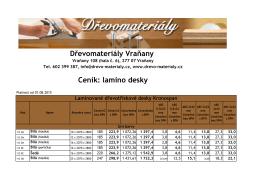 Ceník lamino desek - drevo