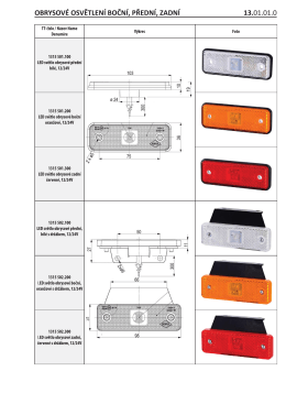 Nová řada osvětlení LED /obrys.,vnitřní, SPZ/ odrazky